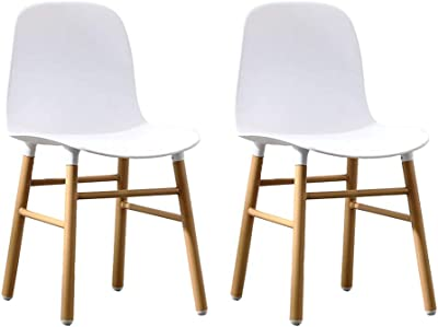 Chair Set of 2 Curved Back Dining Chairs, Premium Plastic Side Chair with Wooden Legs (Color : White)