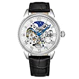 Stuhrling Original Mens Watch - Skeleton Watches for Men Automatic Self Winding Movement Dress Watch with Premium Black Leather Band Mechanical Watch for Men