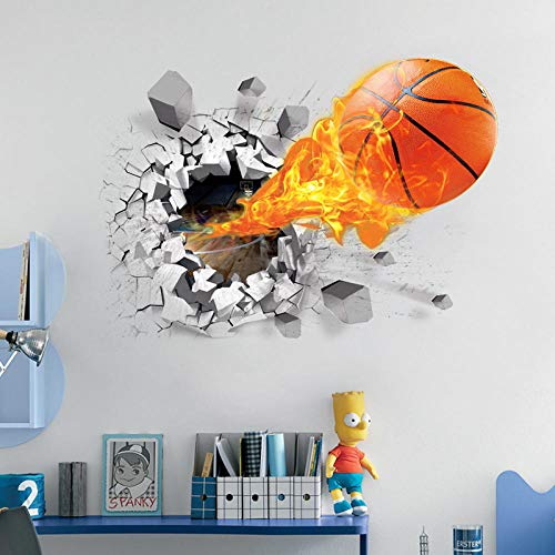 Creative basketball 3D Wall Stickers Basketball Art Wall Stickers For Kid's Bedroom Wall Sticker Decor DIY Home Party Decor 50X70cm