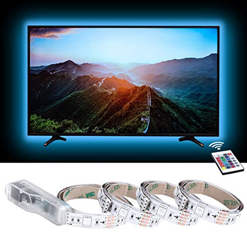 LE LED TV Hintergrundbeleuchtung, 2M RGB LED Fernseher Beleuchtung for 35~65 Zoll HDTV PC Monitor, Upgrade RF Fernbedienung, Dimmbar Farbauswahlen und Helligkeit 4x50 cm LED Strip USB (RGB, 2m)