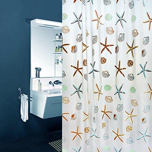 PUAK523 Wasserdichter Duschvorhang, 180 x 200 cm, schimmelresistent, Badezimmer-Duschvorhanghaken, 6 Muster zur Auswahl (Seestern)
