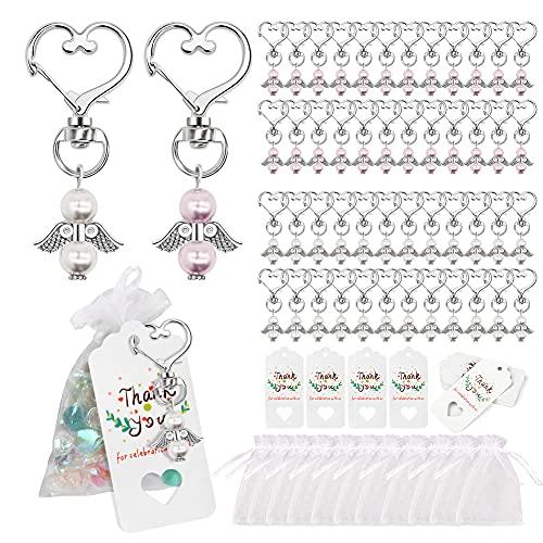 Gohytal 48 perlas ángel de la guarda + 48 bolsas de organza + 48 papel de estraza + colgante de papel de estraza, regalo para invitados, bautizo, Navidad, confirmación, regalo para niño o niña