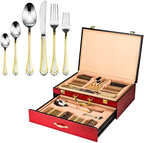 Italian Collection Tuscana Gold 75 Pc Premium Silverware Flatware Serving Set Dining Cutlery product image