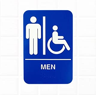 ADA Men Restroom Sign with Braille - Blue and White, 9 x 6 Inches ADA Mens Handicap Accessible Sign, ADA Compliant Restroom/Bathroom Signs by Tezzorio