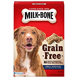 Milk-Bone Grain Free Dog Treats, Small Biscuits, 22 Ounce Box (Pack of 6)