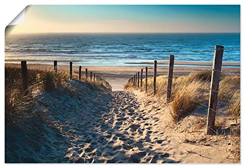 Artland Poster Kunstdruck Wandposter Bild ohne Rahmen 90x60 cm Strand Meer Küste Nordsee Natur Sommer Dünen Sand Gräser T9IP