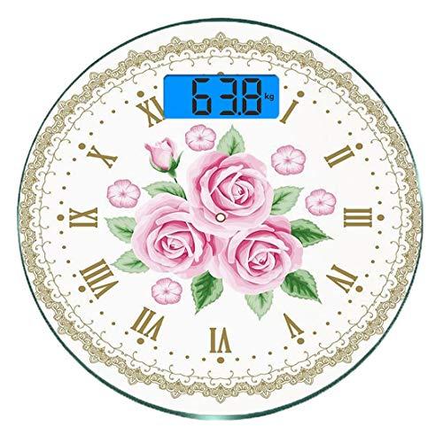 Escala digital de peso corporal de precisión Ronda Decoración Shabby Chic Báscula de baño de vidrio templado ultra delgado Mediciones de peso precisas,Rostro de reloj vintage Rosas Números romanos Ant