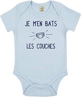 TSHIRT corner - Je m'en Bats Les Couches - Body Bébé - Idée Cadeau Noël - Fun - Humour - Drôle - Coton Bio