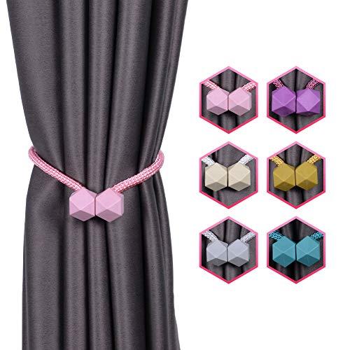 INHDBOX Magnetische Vorhang Raffhalter Kreativ Vorhang Clips Seil Rückwärtige Vorhang Halter Schnallen Vorhang Binder Gardinenhalter für Haus Dekoration 2 Stück (Rosa)