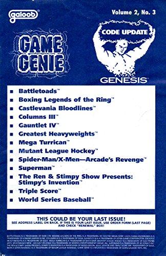 Game Genie Codebook Update for Sega Genesis - Volume 2 Number 3 (Supplement code update booklet with additonal codes not in original manual) (Game Genie Code Update) [Paperback] [1994] Galoob