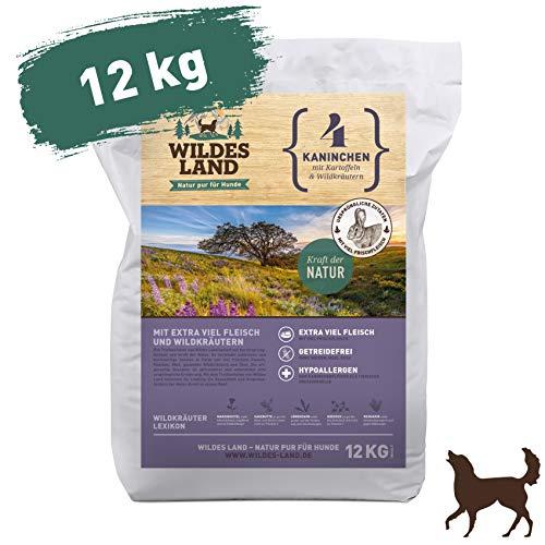 Wildes Land   Trockenfutter für Hunde   Nr. 4 Kaninchen   12 kg   mit Kartoffeln und Wildkräutern   Glutenfrei & Hypoallergen   Extra viel Fleisch   Beste Akzeptanz und Verträglichkeit