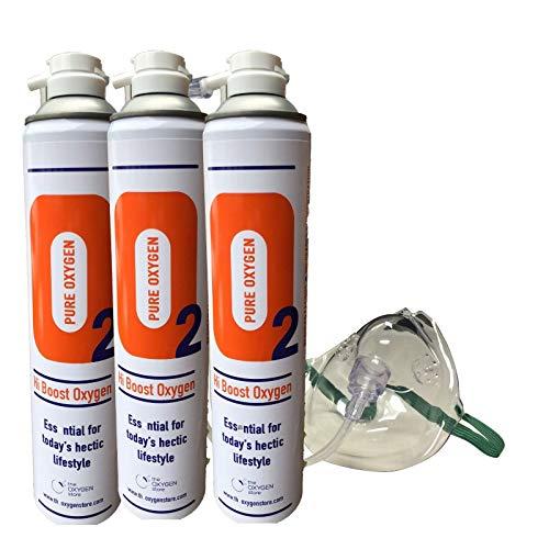 3 x 10L Zuurstof blik met masker en tubing, Pure Ingeblikte Zuurstof, Zuurstof Kannister