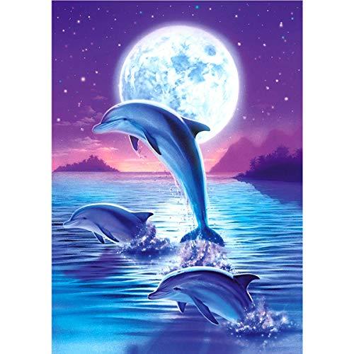 Kit de pintura de diamante 5D para adultos, diseño de delfín, luna y diamantes de imitación, para decoración de pared, 40 x 50 cm