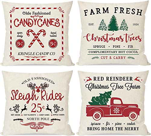 Dbzz Christmas Throw Pillow Covers Set of 4 18x18 Inch Cotton Linen Winter Holiday Rustic Farmhouse Cushion Case for Sofa Couch