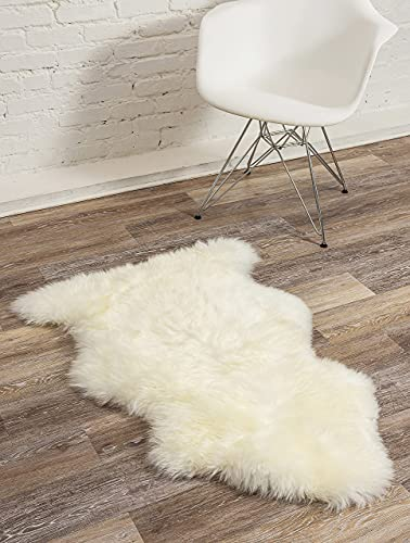 Natural Milan Thick and Lush 2.5 inch Pile Anti-Skid Backing Hypo-Allergenic Premium Quality Luxury New Zealand Shearling 2 x 3 ft Sheepskin Area Rug Throw Single Pelt, Ivory