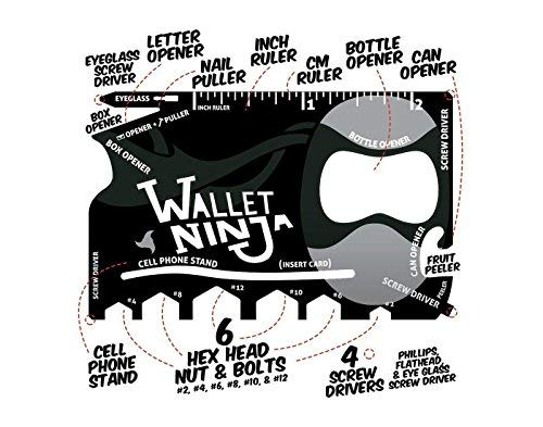 IK Wallet Ninja 18-in-1 Multipurpose Credit Card Size Pocket Tool (Multicolour)