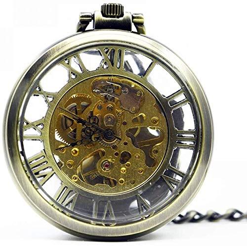 Wlnnes Montre de poche de poche de poche mécanique transparente à la main ouverte visage black montre pendentif fob chaîne steampunk hommes femmes