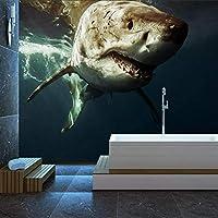 3D mural wallpaper wall sticker カスタム壁画オーシャンビッグシャーク写真 リビングルームテレビソファの家の装飾 -280x200cm/110x79inch