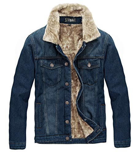 JYG Men's Winter Thicken Sherpa Lined Denim Jacket
