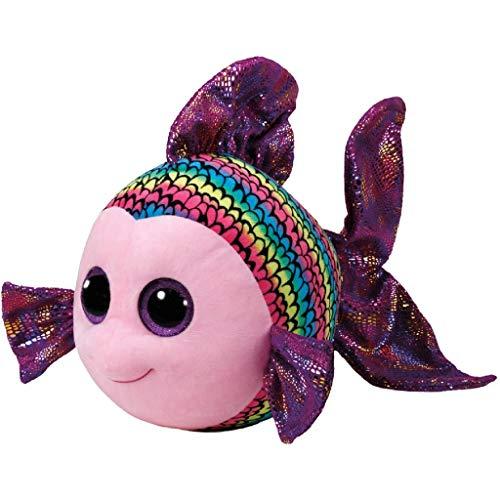TY 37245 Fish Beanie Boo's Flippy Fisch mit Glitzeraugen, 42 cm, Mehrfarbig, bunt