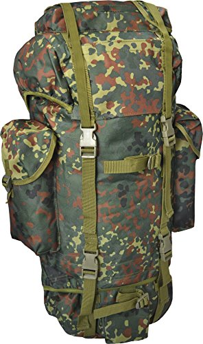 normani 65L Rucksack 'Wood Camouflage Style' mit Großem Fassungsvermögen - Perfekt zum Wandern gehen Farbe Flecktarn