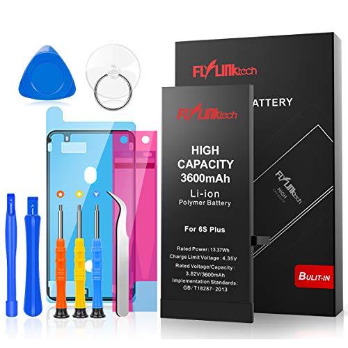 FLYLINKTECH Batteria per iPhone 6S Plus Alta Capacità 3600mAh Batteria Interna di Ricambio in Li-ion, Strumenti di Riparazione Completi con Kit Sostituzione, Cacciavite Strumenti e Adesivo