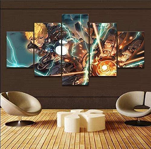 NC56 5 Paneles de Pintura sobre Lienzo de Anime One Punch Man Imagen Moderna impresión Cartel Pared Arte 150x80cm Marco