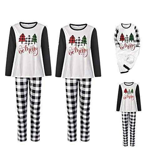 Christmas Matching Family Pajamas Set Xmas Sleepwear Parent-Child Nightwear Santa Claus and Letter Print Tops + Plaids Pants (White-Christmas Tree, Kid- 4-5T)