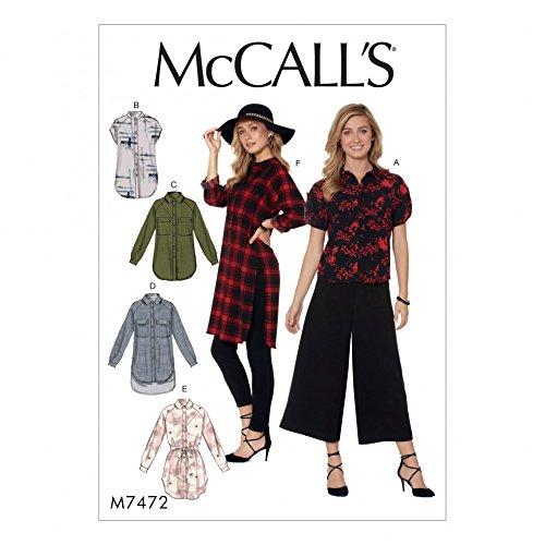 McCall 's Damen Schnittmuster 7472Raglan-Ärmel Button-Down Shirts & Tuniken