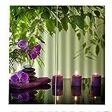 PERFECTPOT Cortinas Opacas Zen Flores Velas Cortinas Dormitorio Moderno con Ganchos Térmicas Aislantes para Ventanas de Habitación Salón Decoración 220x215cm