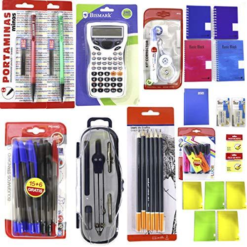 Pack material Escolar para SECUNDARIA/BACHILLER, kit escolar barato. PACK AHORRO, contenido en fotografía y viñetas. (Lápices, borradores, bolígrafos, cuadernos, agendas, compás, etc) 48 PIEZAS.