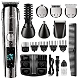 Brightup Beard Trimmer, Cordless Hair Clippers Hair Trimmer for Men, Waterproof Body Mustache Nose Ear Facial Cutting Groomer, Electric Shaver All in 1 Grooming Kit, USB Rechargeable & LED Display