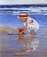 QWEFGDF DIYデジタル油絵 初心者と大人がキャンバスに番号でペイントすることを目的(40x50 cm)ビーチの少女