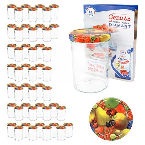 MamboCat 50er 435 ml Sturzglas-Set | Einmachgläser + Twist-Off-Deckel Obst gelbe Birne + GRATIS Rezeptheft | einkochen & konservieren | backofengeeignet