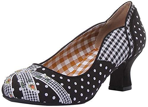 Ruby Shoo Damen Pumps Paula Polka Dot Pepita Floral Schuhe Schwarz Geschlossen 39