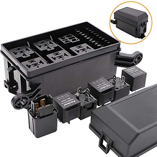 12-Slot Fuse Relay Box 6 Relays 6 ATC/ATO Fuses Holder Block with 41pcs Metallic Pins for Automotive and Marine Engine Bay Jeep Car Boat