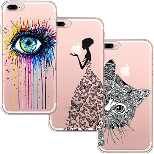 [3 Pack] Funda para iPhone 7 Plus, Funda iPhone 8 Plus,Blossom01 Ultra Suave Funda de Silicona para TPU con Dibujo Animado Lindo para iPhone 7 8 Plus - Ojo Niña Gato