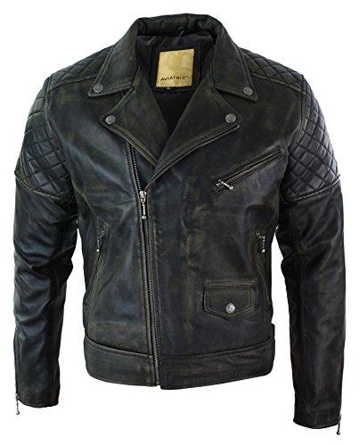Aviatrix Chaqueta para Caballero Tipo Vintage Efecto Lavado Borgona Negro y Azul de Cuero autentico Estilo Biker con Cierre de Cremallera Estilo Retro Casual Negro