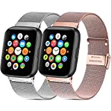 Mugust - Lote de 2 pulseras de acero inoxidable para reloj deportivo Apple Watch Series 6/5/4/3/2/1/SE (38 mm, 40 mm, 42 mm, 44 mm), 03 Argent+Or Rose, 38mm/40mm