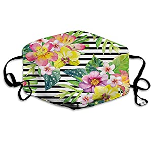 Fashion Activated Carbon mask,Bouquet with Lily Dahlia Palm Begonia Leaves Orchid Flowers,Printed Facial decorations for adults