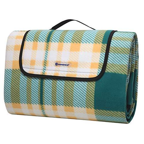 SONGMICS picknickdeken, 195 x 200 cm, grote campingmat en tapijt voor buiten, strand, park, tuin, met waterdichte achterkant, opvouwbaar, groen en wit GCM61JC