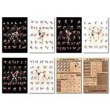 GREAT ART Juego de póster de Muay Thai, 1 – 8 diseños diferentes, DIN A2, 59,4 x 42 cm, para deportes de lucha, boxeo, codos y rodillas, ataques, golpes, bases, historia.