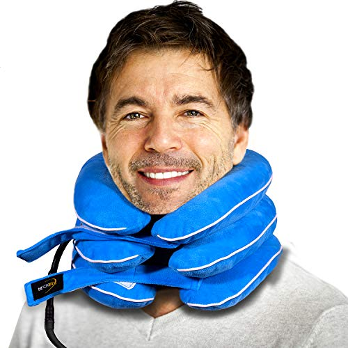 BigSize Cervical Neck Traction Device for Instant Neck Pain Relief - Pinched Nerve Neck Stretcher for Home Pain Treatment - Inflatable Spinal Decompression Collar Unit + Bonus (17-20 inch)