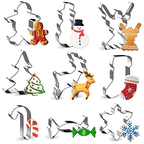 Christmas Cookie Cutter Set - Joyoldelf 9 Piece Stainless Steel Snowflake, Christmas Tree, Reindeer, Gingerbread Boy, Snowman, Angel, Candy Canes, Socks, Candy for Kids