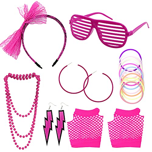 Darovly 80s Accessories Costumes Kit- Lace Headband Earrings Glasses Fishnet Gloves Necklace Bracelet for Women or Girls 80's Retro Party Supplies Decorations Cosplay Props(Rose Red)