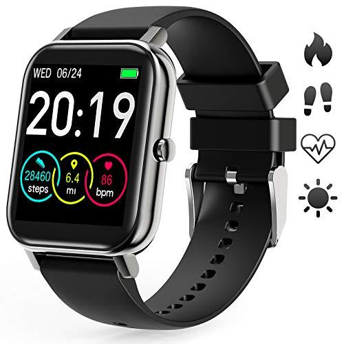 GOKOO Smartwatch Damen Herren Pulsuhren Fitness Vollfarb-Touchscreen Sportuhr IP67 mit Blutdruck Messgeräte Schrittzähler Pulsoximeter Schlafmonitor Uhr für iOS Android Handy