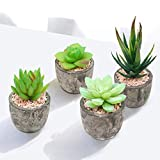 Enrack Artificial Potted Plants Pack of 4, Artificial Succulents Fake Plants Potted In Mini Grey Pots For Home Office Bathroom Table Top Decoration Wedding (4pcs, Grey)