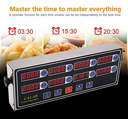 CAL-8B draagbare rekenmachine, digitale timer, 8 kanalen, keuken, tijdweergave, LCD-display, klok, herinnering aan schudden, zilver en zwart