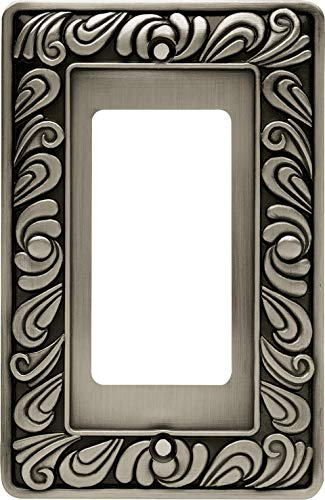 Franklin Brass 64046 Paisley Single Decorator Wall Plate/Switch Plate/Cover, Brushed Satin Pewter