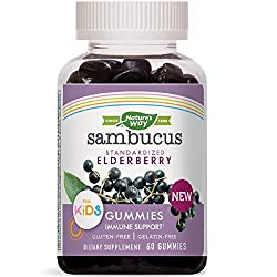 Nature's Way Sambucus Elderberry Kid's Gummies Herbal Supplements, 60 Count | Black Elderberry |Vita